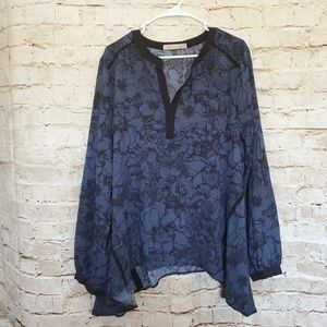 Everleigh Blue Black Floral Billowy Blouse